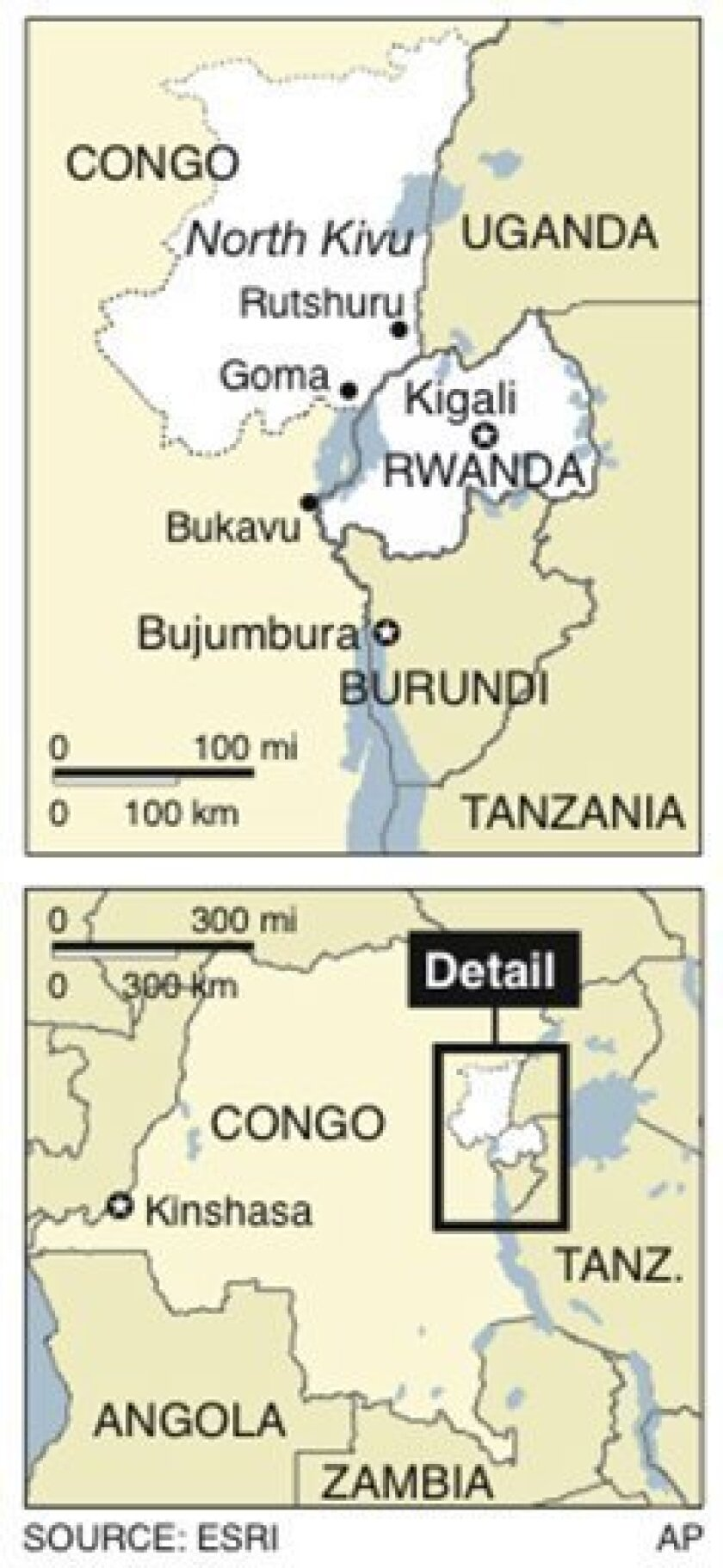 Map locates North Kivu province, Congo, where troops from Rwanda will assist the forces of Congo in fighting rebel Hutus; 1 c x 4 in; 46.5 mm x 101.6 mm