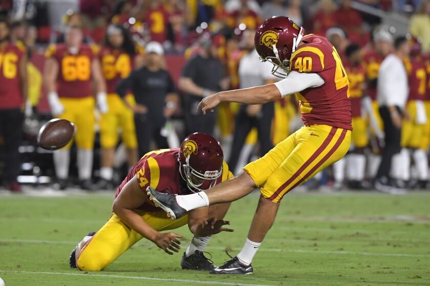 USC kicker Chase McGrath kicks a field goal.