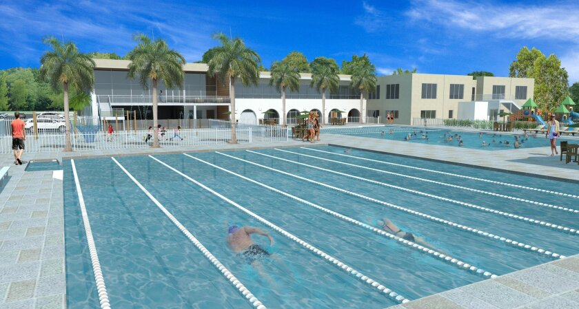 La Jolla YMCA will remove its remaining tennis courts and a basketball court to expand its aquatics program and construct two outdoor swimming pools, as depicted in this rendering. YMCA executives say aquatics and youth gymnastics programs are more popular with members.