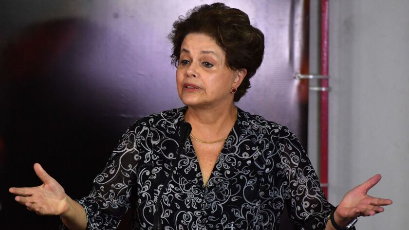 Then-Brazilian President Dilma Rousseff was impeached in August 2016.