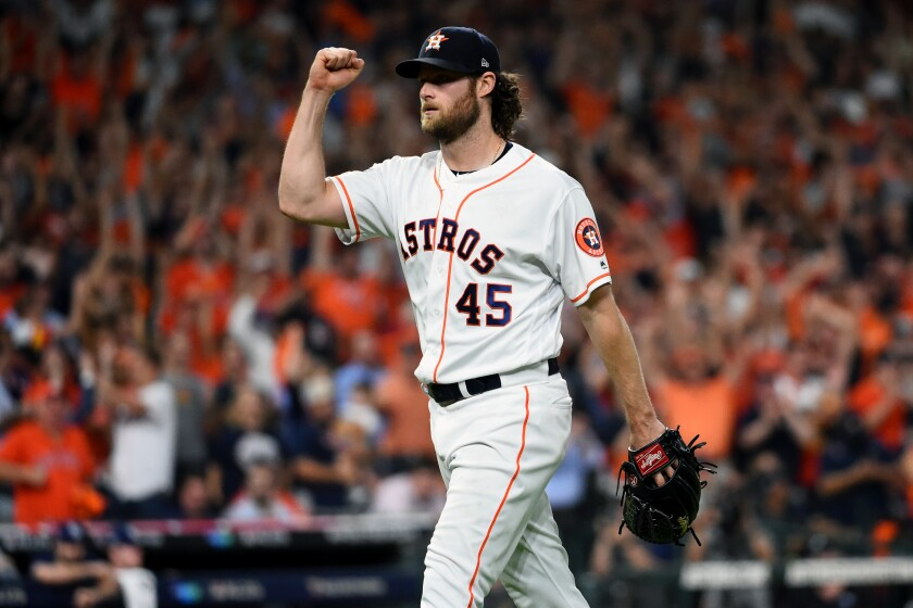 Houston Astros starter Gerrit Cole celebrates a double play against the Tampa Bay Rays.