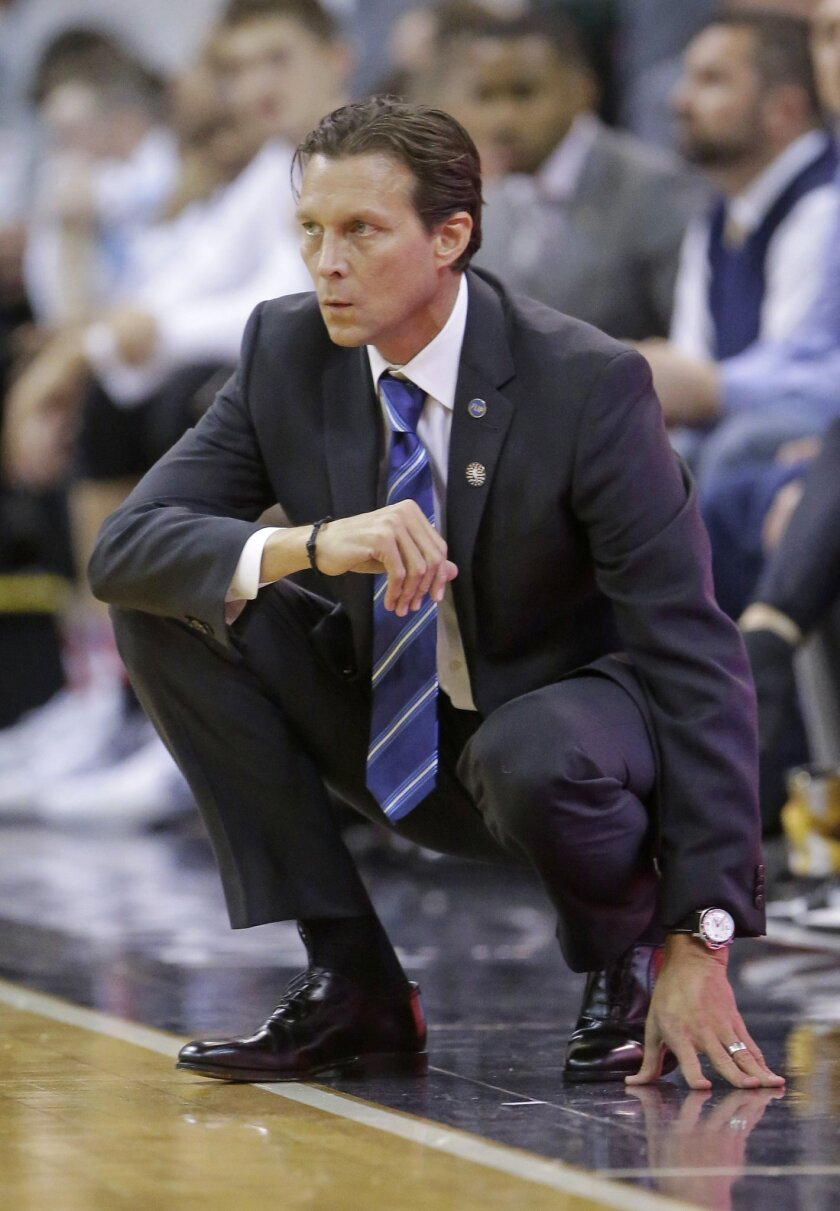 Utah Jazz head coach Quin Snyder looks on in the second quarter during an NBA basketball game against the Portland Trail Blazers Wednesday, Nov. 4, 2015, in Salt Lake City. (AP Photo/Rick Bowmer)