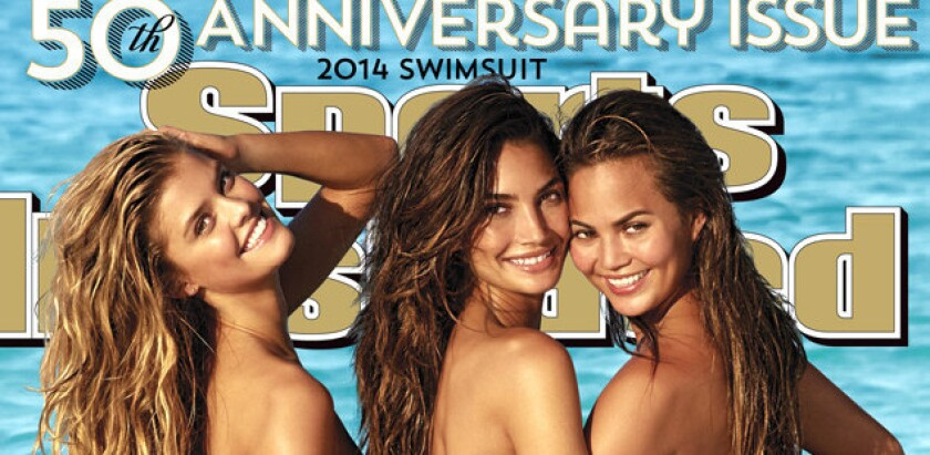 Nina Agdal, Lily Aldridge and Chrissy Teigen pose in the Cook Islands for the cover of the 2014 Sports Illustrated swimsuit issue.