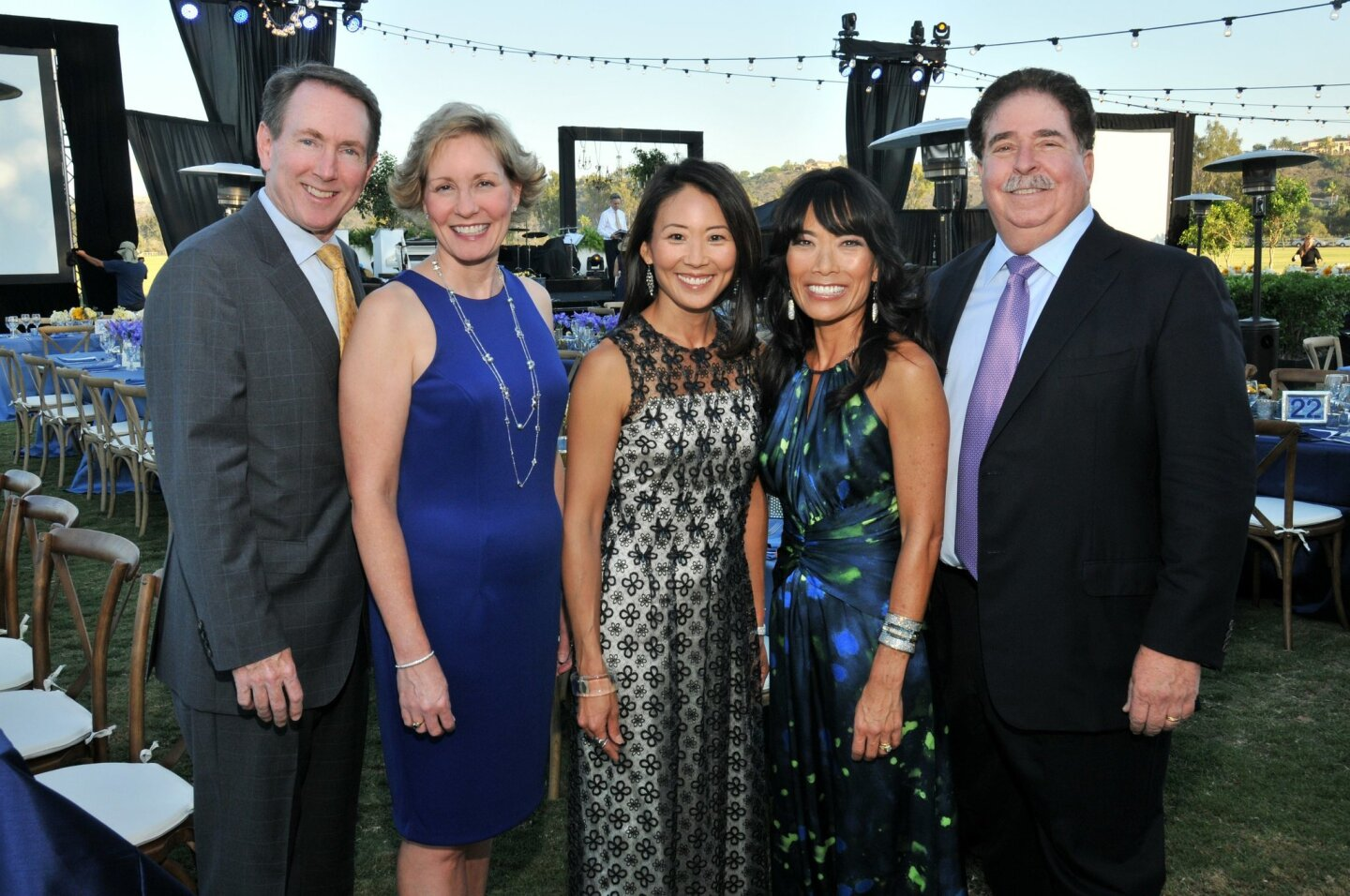 Darin Boles and Sharon Lawrence (Voices CEO), Haeyoung Tang (event co-chair), Jennifer and Dr. Richard Greenfield (event co-chairs) attend the Starry Starry Night gala, a fundraiser for Voices for Children, Sept. 13, 2014 at the San Diego Polo Club in Rancho Santa Fe.