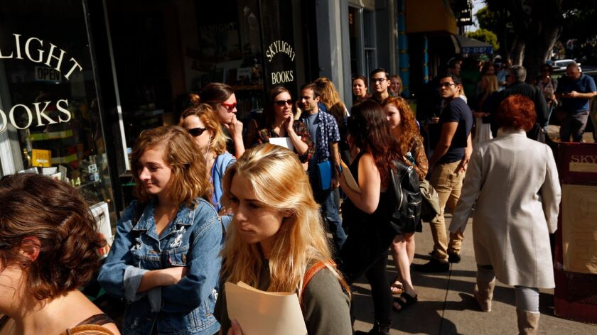 Actors wait in line to sign up for future auditions organized by Independent Theaters of Los Angeles