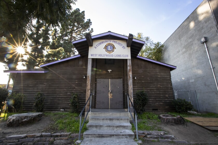 The Lions Club log cabin on sits on property owned by the city of Beverly Hills in West Hollywood. The century-old cabin hosts some 30 recovery and sobriety meetings every week. But now Beverly Hills wants it torn down.