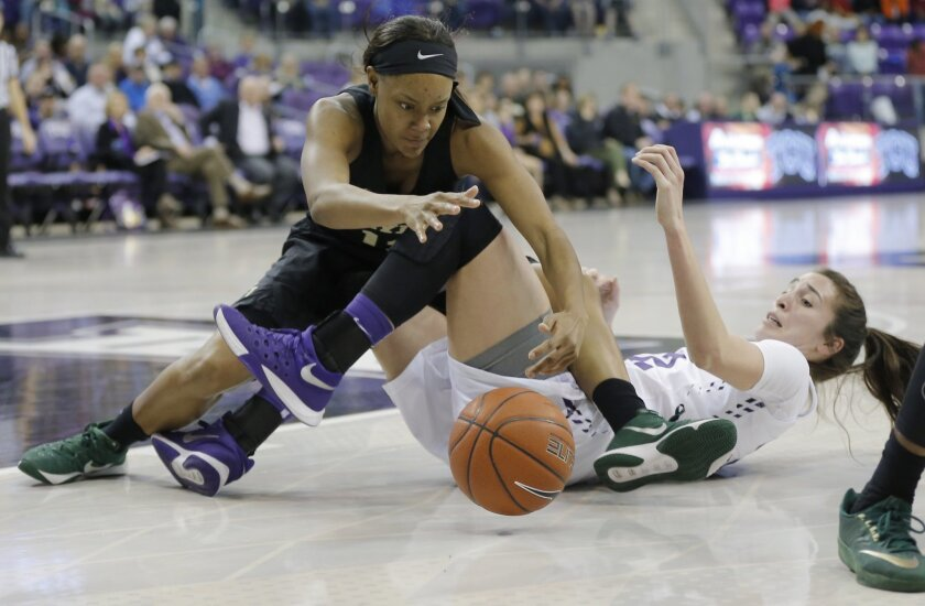 Baylor forward Nina Davis, left, and TCU forward Caitlin Diaz battle for a loose ball during the first half of an NCAA college basketball game Wednesday, Feb. 10, 2016, in Fort Worth, Texas. (AP Photo/Brandon Wade)