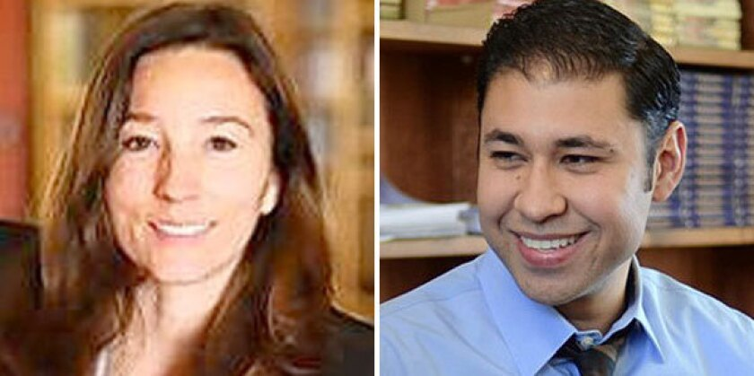 Monica Ratliff has a background as a legal-aid attorney and teacher in a school that serves mostly students from low-income families. Antonio Sanchez has a background in campaigns and ties to political figures. Last year he completed his master's degree in urban and regional planning at UCLA.