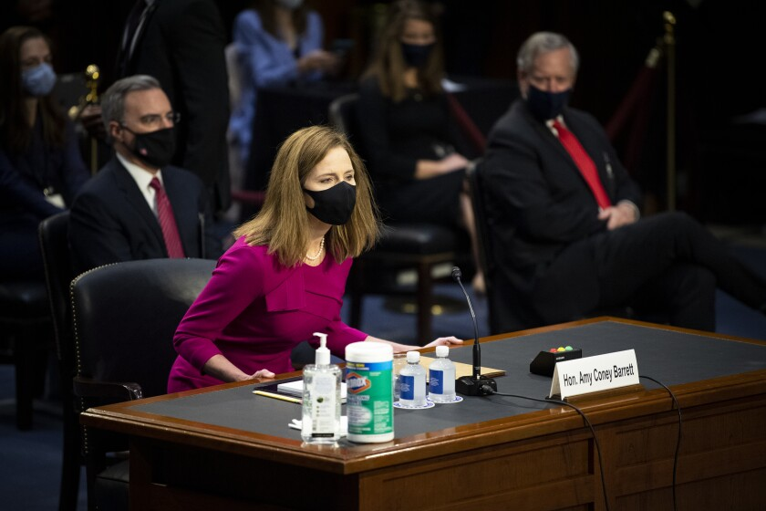 Supreme Court nominee Amy Coney Barrett at her Senate Judiciary Committee confirmation hearing on Oct. 12.
