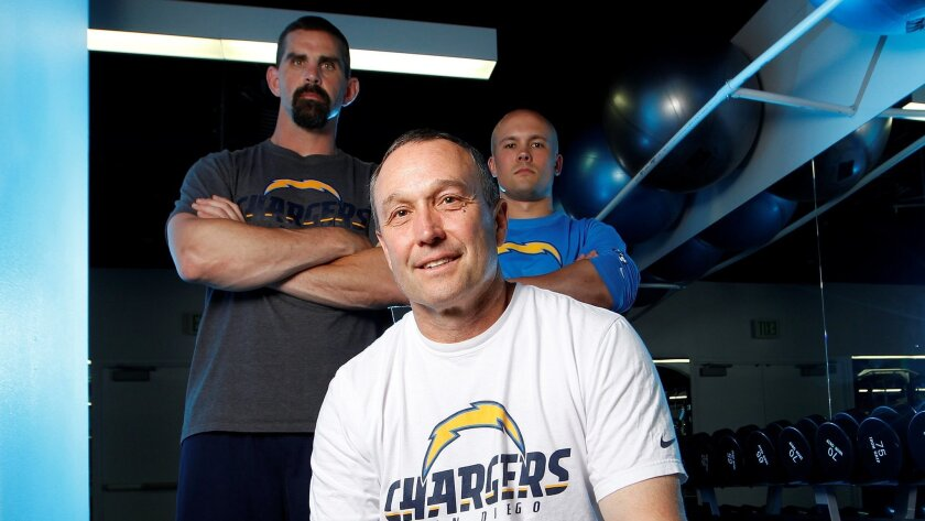 New Chargers strength and conditioning coach Kent Johnston and his assistants, Rick Lyle (left) and Brian Ellis in the Chargers weight room.