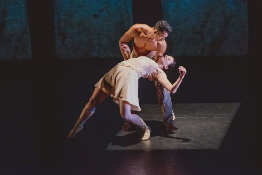 """Melissa Bourkas and Miguel Perez of BodyTraffic perform """"Kollide"""" at the Broad Stage in Santa Monica."""