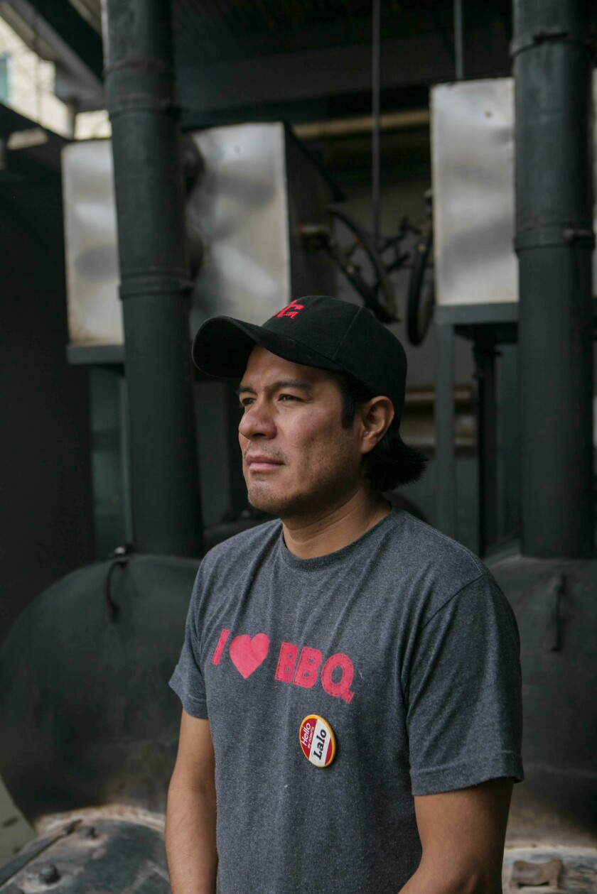 """May 8, 2018 - Eduardo """"Lalo"""" Jimenez, 41, stands for a portrait at Pinche Gringo in front of the mea"""