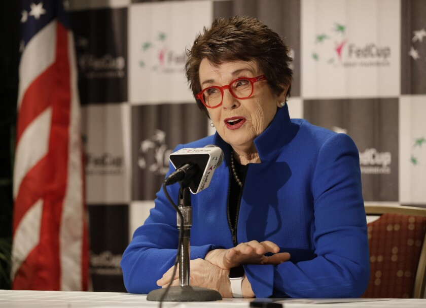 Tennis great Billie Jean King speaks to the media in February.
