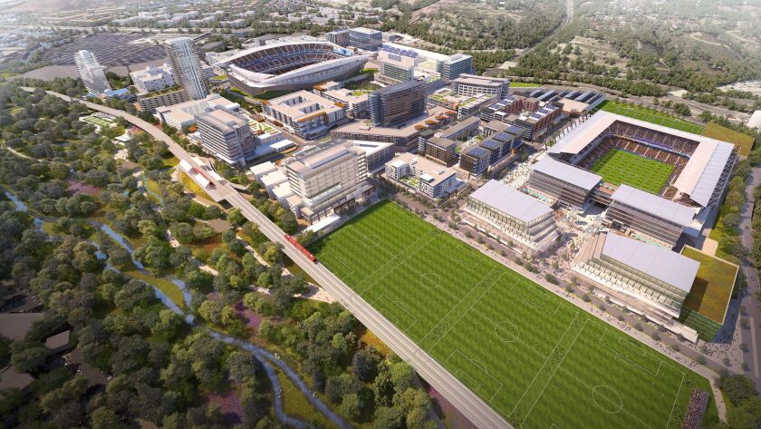 SoccerCity is to include an 18,000-32,000-seat stadium, right, for soccer and SDSU football and a s