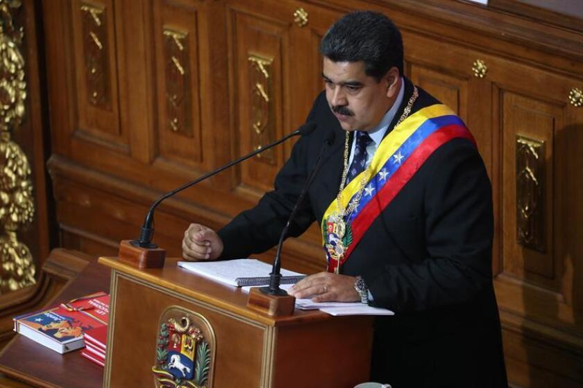 Venezuelan President Nicolas Maduro (c.) attends a session of the National Constituent Assembly on Jan. 14, 2019, where he blames the opposition for the electricity outage Saturday night at the University Clinical Hospital (HCU) of Caracas that left at least two patients dead. EFE-EPA/Miguel Gutierrez