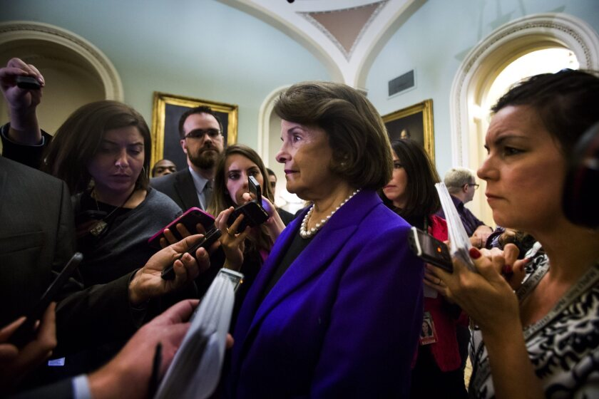 """Sen. Dianne Feinstein (D-Calif.) at the Capitol on Tuesday after addressing the Senate on CIA excesses in interrogating terrorism suspects, which she called """"one of the lowest points in our nation's history."""""""