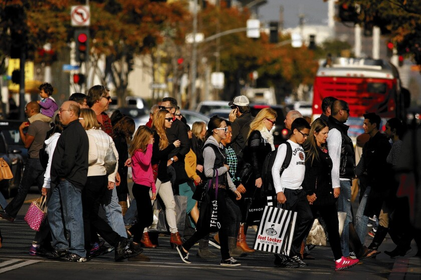 Shoppers at Third Street Promenade