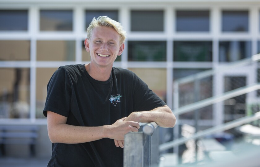 Senior goalkeeper Joey Palmblade of the Costa Mesa High boys' water polo team made 315 saves last season.