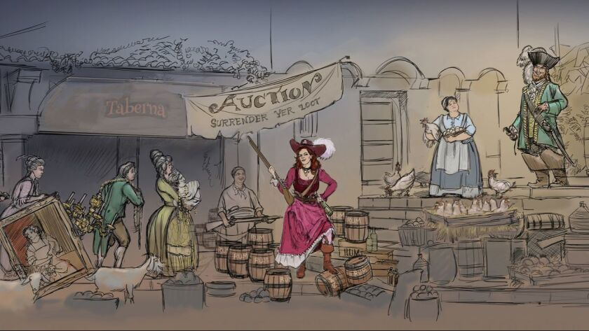 Pirates of the Caribbean (Disneyland) - Artist Concept -- Artist rendering of the scene that will re