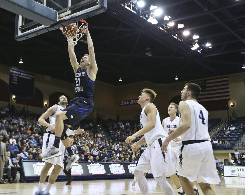 BYU forward Kyle Davis dunks as San Diego players watch during the first half of an NCAA college basketball game Thursday, Feb. 18, 2016, in San Diego. (AP Photo/Lenny Ignelzi)