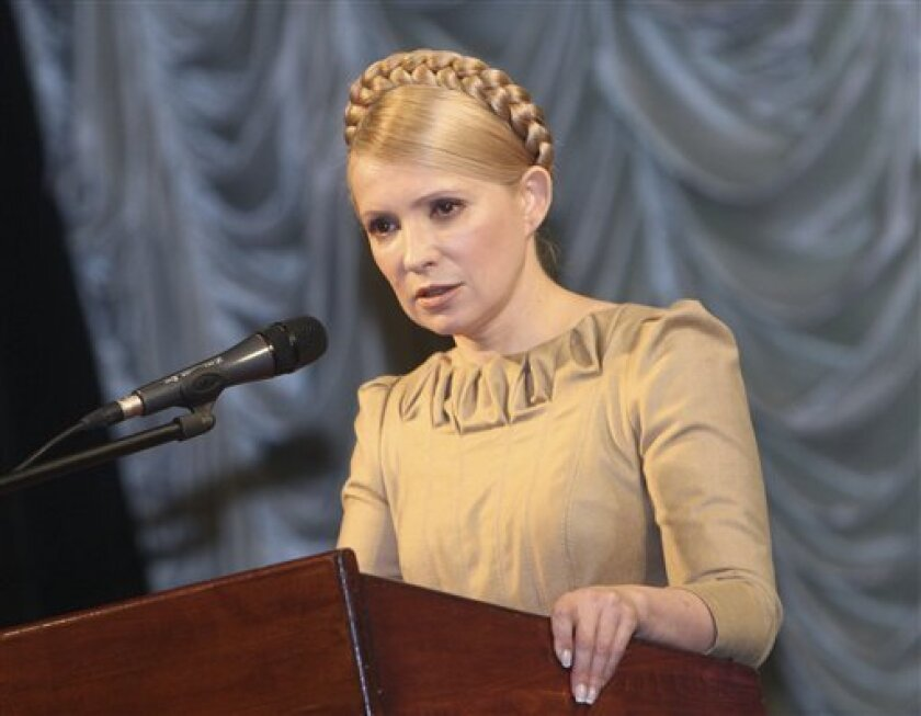 Ukraine's Prime Minister and the Presidential candidate Yulia Tymoshenko speaks to her supporters during campaigning rally in the Ivano-Frankovsk,  western Ukraine, Tuesday, Feb. 2, 2010. The second round of voting in Ukraine's presidential election is scheduled for February 7. ( AP Photo / Alexand