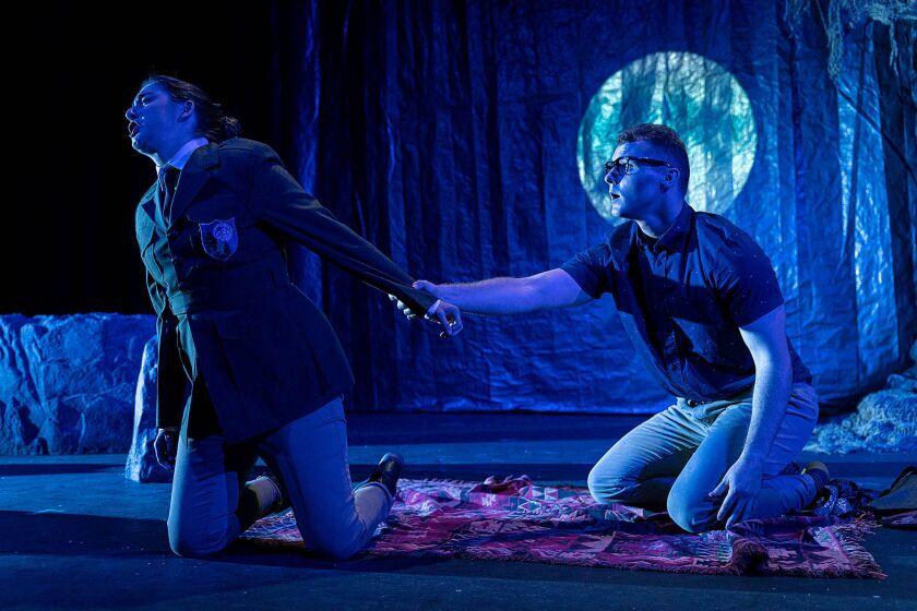 "Kira Dills-DeSurra as Diana, left, and Michael Skarke as Endymion in Opera NEO's ""La Calisto."""