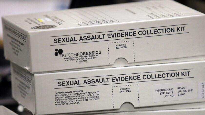 This Feb. 8, 2017, photo, sexual assault evidence collection kit are shown during committee meeting