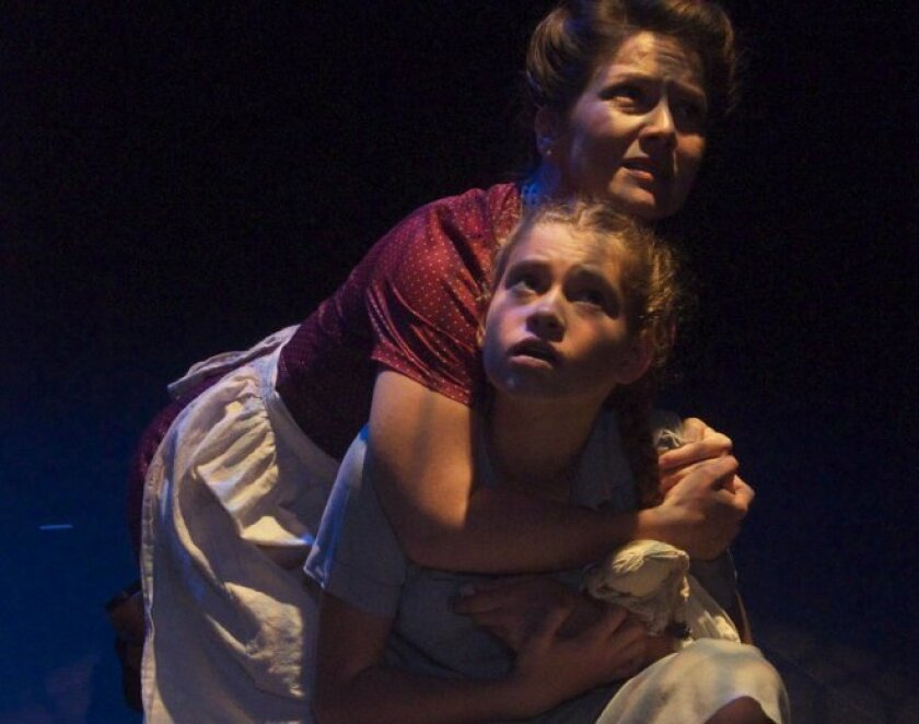"""Arnica Skulstad Brown and Avalon Greenberg Call in a scene from Aimee Greenberg's """"Light Falling Down,"""" which makes its world premiere this month with Oceanside Theatre Company."""