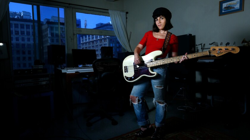Ramona Gonzalez, who makes music as Nite Jewel, is shown in her Fashion District studio in downtown Los Angeles.