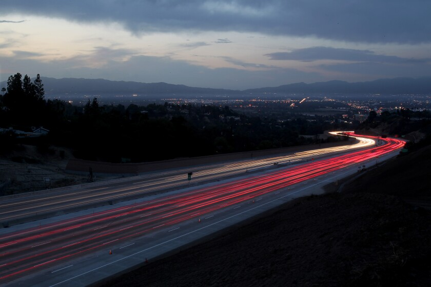 Traffic streams through the Sepulveda Pass on the 405 Freeway that connects the Westside to the San Fernando Valley.