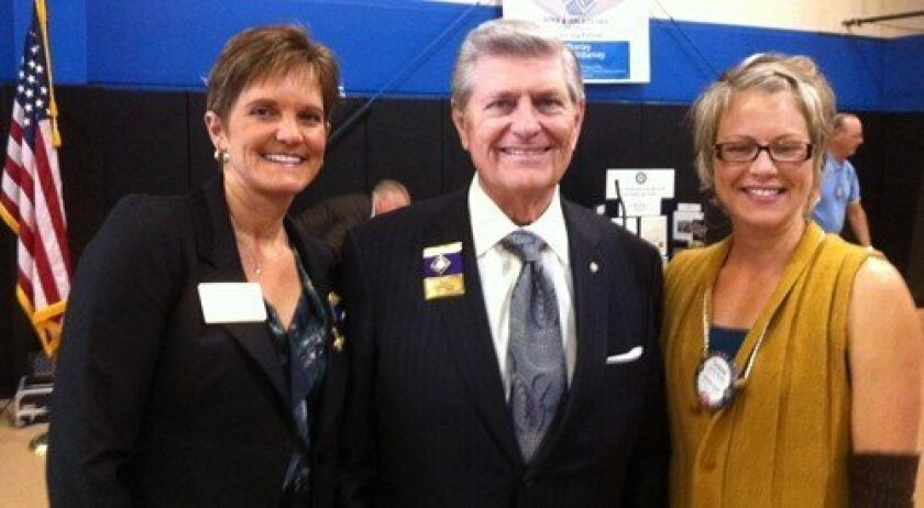 Speaker Rick King with past President Janice Kurth and Del Mar Rotarian Corena Kessel