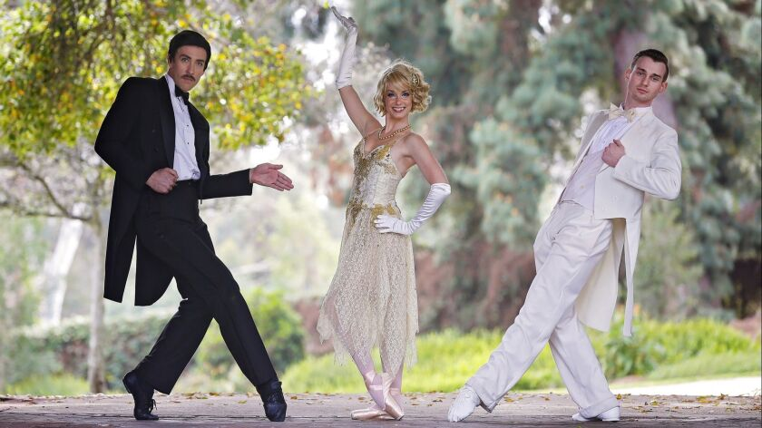 "California Ballet Company presents ""The Great Gatsby"" at the San Diego Civic Theatre on April 6-8. It features Trystan Merrick (Tom Buchanan), Reka Gyulai (Daisy Buchanan) and Zachary Guthier (Jay Gatsby)."