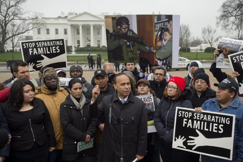 Democratic Rep. Luis Gutierrez of Illinois leads a rally outside the White House to urge President Obama to grant temporary protected status to some immigrants already ordered to be deported.