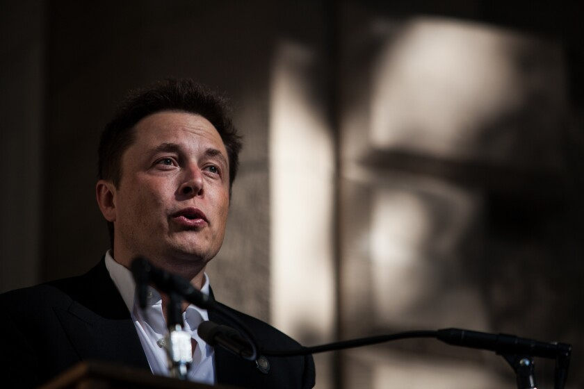 Elon Musk, CEO of Tesla Motors, speaks at a news conference in Carson City, Nev.