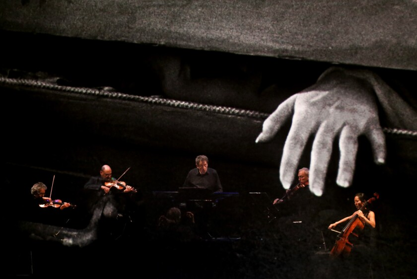 LOS ANGELES, CA - OCTOBER 29, 2015 -- Philip Glass, third from left, and the Kronos Quartet perform