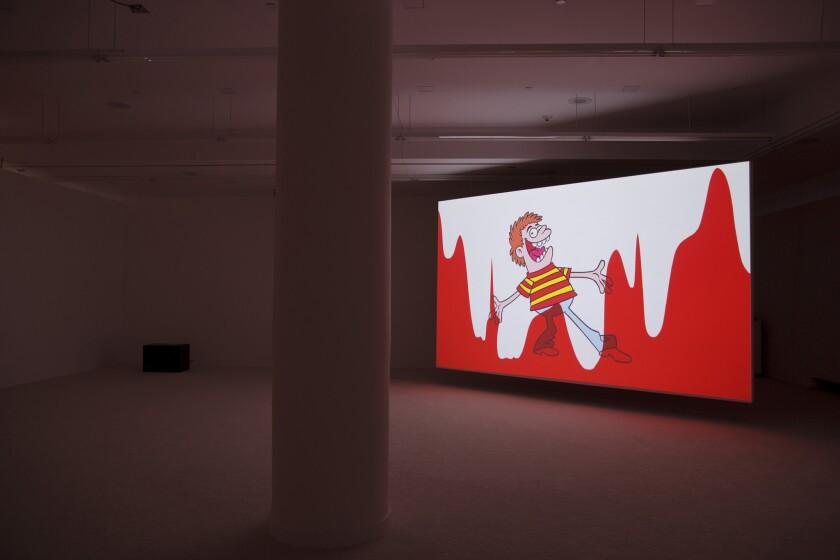 "Jordan Wolfson, ""Raspberry Poser,"" 2012. Installation view, REDCAT, Los Angeles."