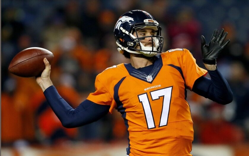 FILE - In this Dec. 28, 2015, file photo, Denver Broncos quarterback Brock Osweiler (17) throws against the Cincinnati Bengals during the first half of an NFL football game in Denver. Osweiler is a free agent the Broncos probably cannot afford to lose if Peyton Manning retires. (AP Photo/Joe Mahone