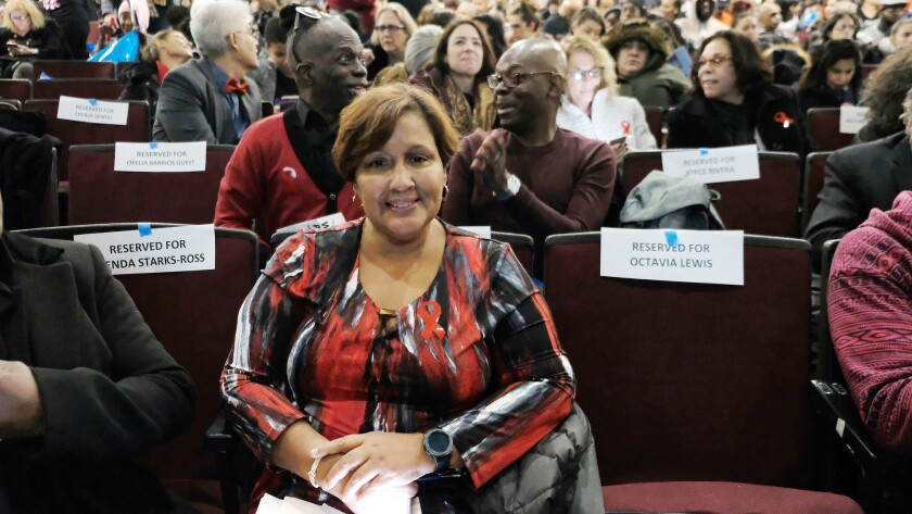 "Aracelis Quinones at the Nov. 30 World AIDS Day event ""Breaking through Stigma"" at Baruch College in New York City."