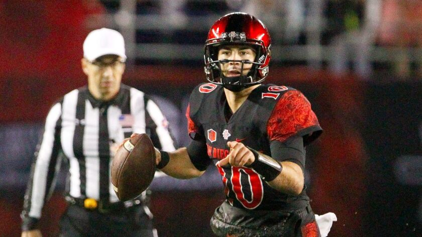 San Diego State quarterback Christian Chapman is still healing from offseason thumb surgery, which will prevent him from throwing passes during spring football. Chapman suffered the injury during SDSU's Las Vegas Bowl victory over Houston.