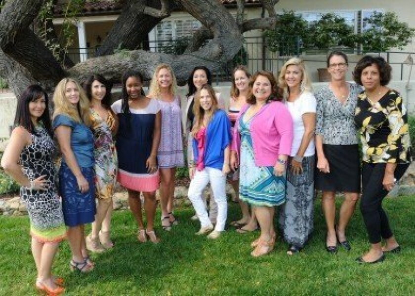 RSF Unit of Rady Children's Hospital Auxiliary board retreat participants: (L-R) Sandra Den Uijl, Cameron James, Roni McGuire, Kia Davis, Sherry Stewart, Cristiane Valdez, Koki Reasons, Catherine Fox, Lesa Thode, Jan Wehlage, Deana Ingalls, Kimberly King. Photo/Jon Clark