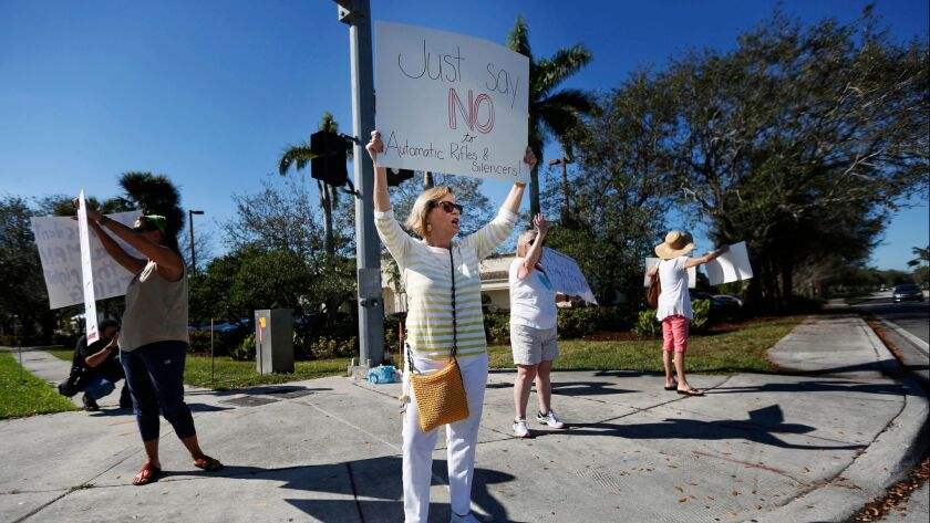 Cathy Kuhns, a teacher, stands on a street corner holding up anti gun signs in Parkland, Fla., on Feb. 17.