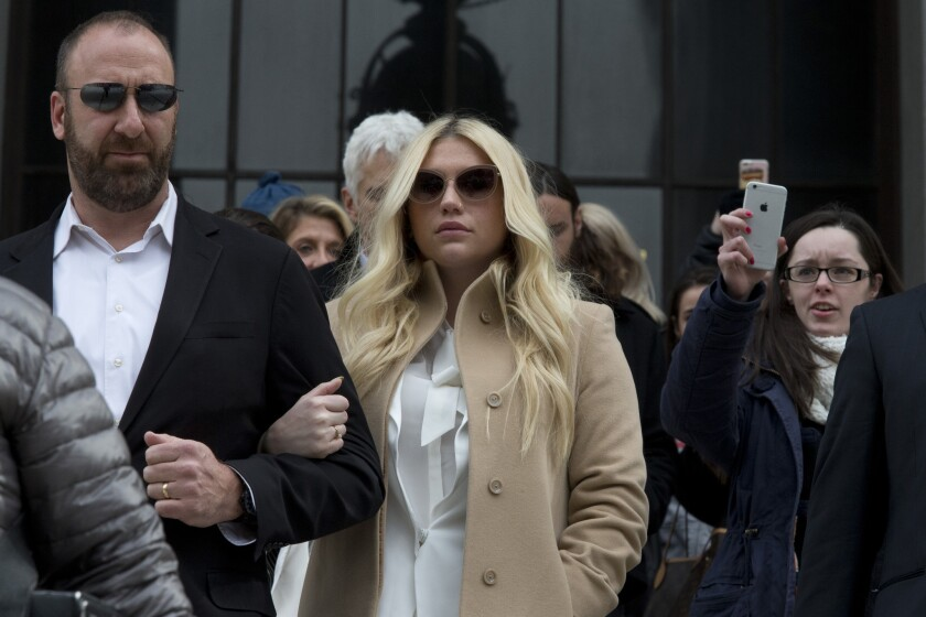 Pop star Kesha leaves a New York courthouse on Feb. 19.