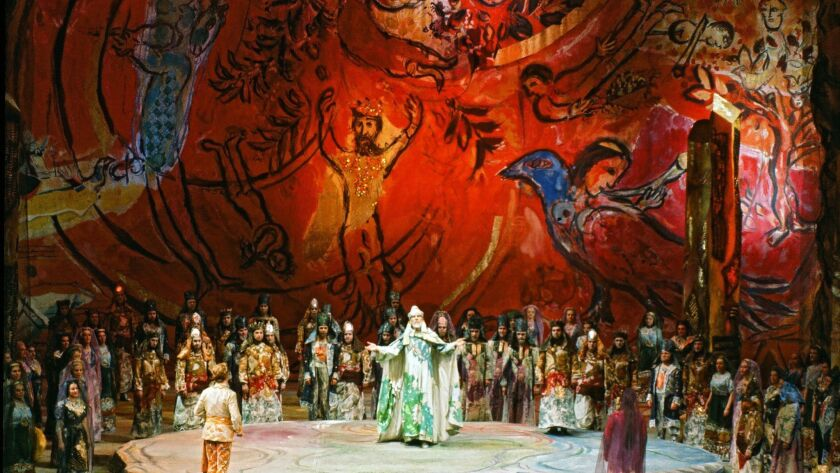 "Marc Chagall's costumes and designs featured in ""The Magic Flute,"" February 1967, Metropolitan Opera, New York."