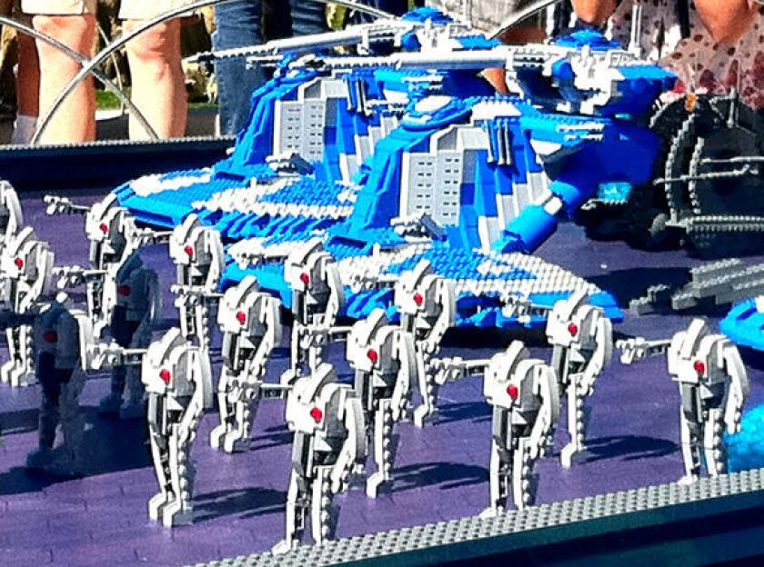 A Clone Wars battle in Star Wars Miniland at Legoland California.