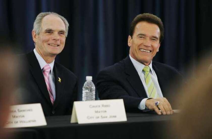 San Jose Mayor Chuck Reed, left, shown at left in 2009 with then-Gov. Arnold Schwarzenegger, is backing a proposed statewide ballot measure to allow reductions in retirement benefits for public employees.