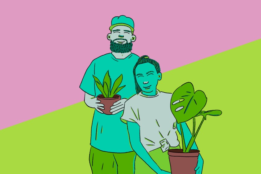 illustration of Jon Perdomo and Jerrilyn Peralta holding their favorite plants