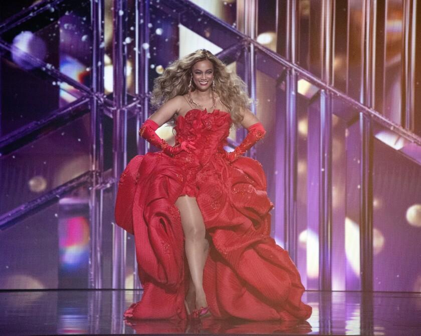 "Host Tyra Banks enters the ""Dancing With the Stars"" ballroom"