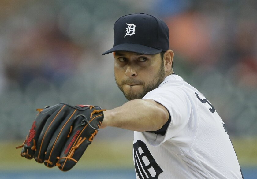 Detroit Tigers starting pitcher Anibal Sanchez throws during the first inning of a baseball game against the Tampa Bay Rays, Friday, May 20, 2016, in Detroit. (AP Photo/Carlos Osorio)