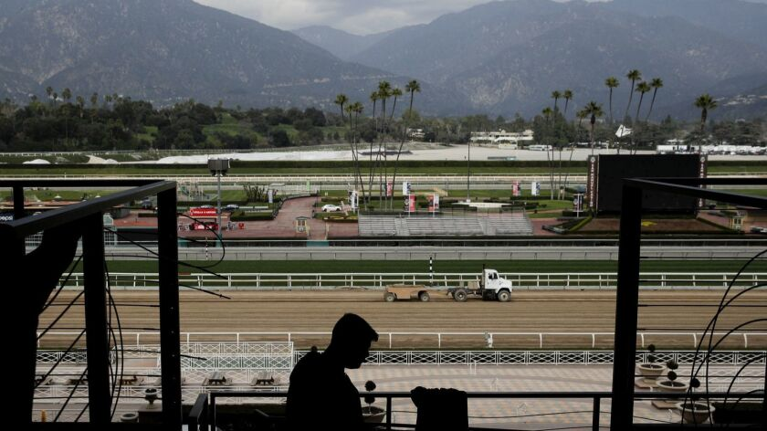 A general view of Santa Anita Park is shown Tuesday, March 5, 2019, in Arcadia, Calif. A filly that