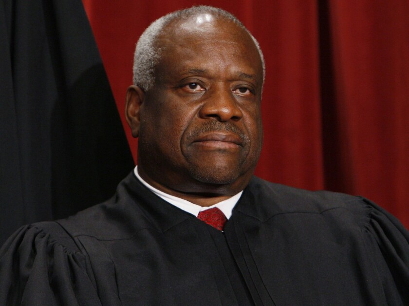 Supreme Court Justice Clarence Thomas participated actively in oral arguments that were livestreamed in May.